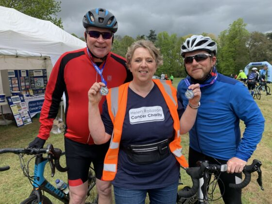 Riders Dean Mitchell and Neal Clark with HRCC Community Fundraiser Karen Mitchell